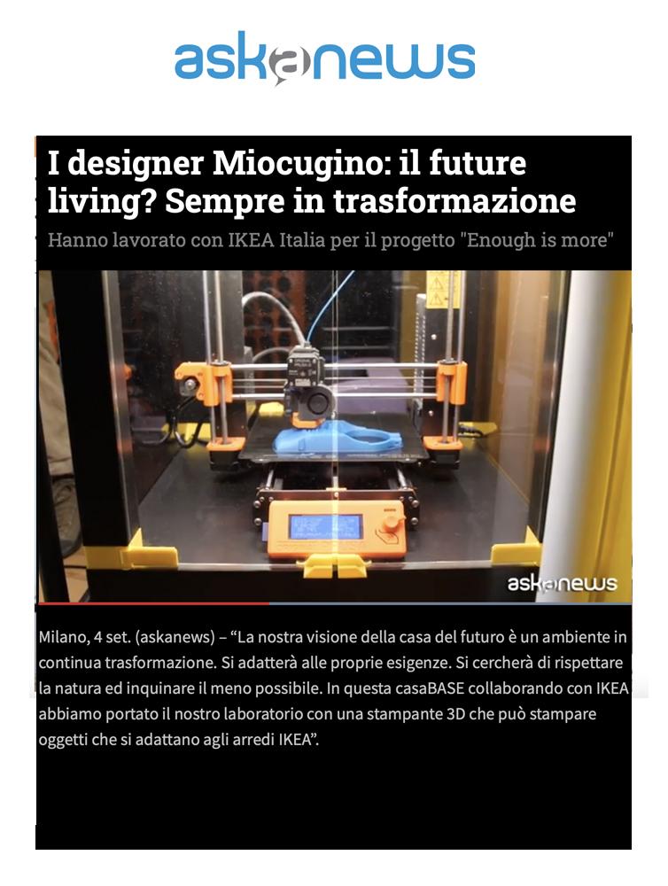Miocugino IKEA Milano Design Week 2021 Press Askanews