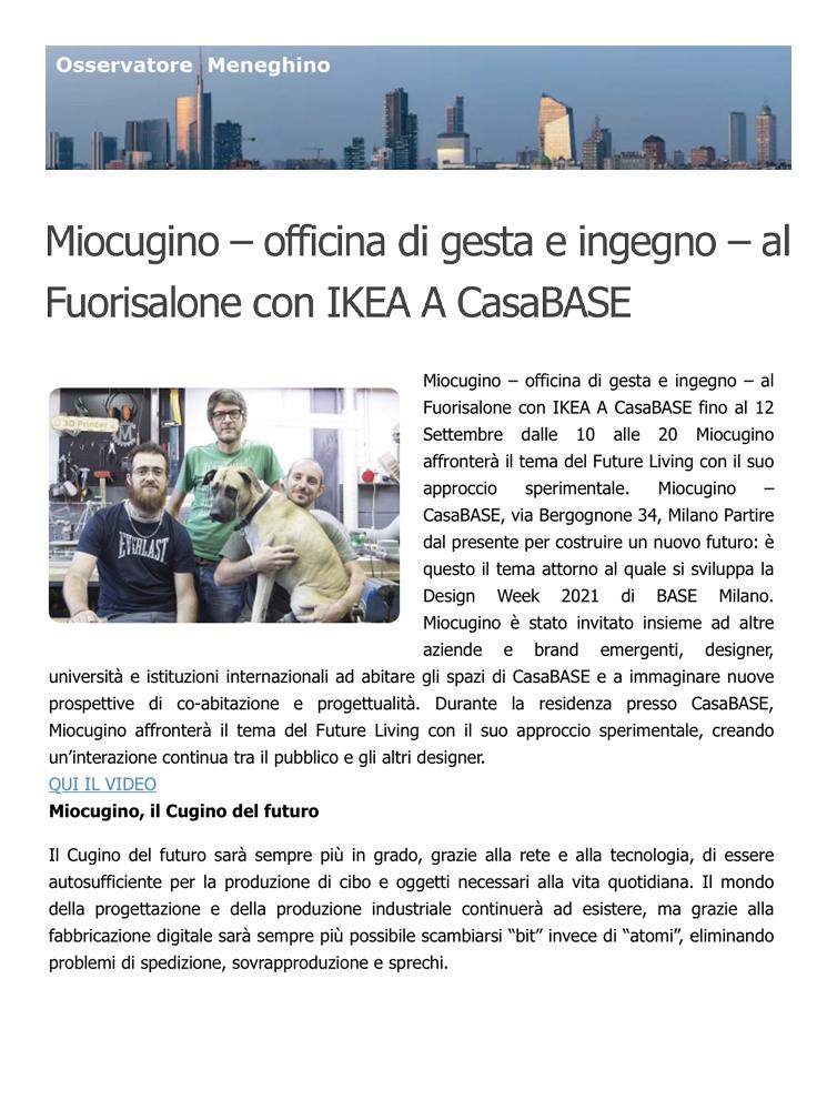 Miocugino IKEA Milano Design Week 2021 Press Osservatore Meneghino