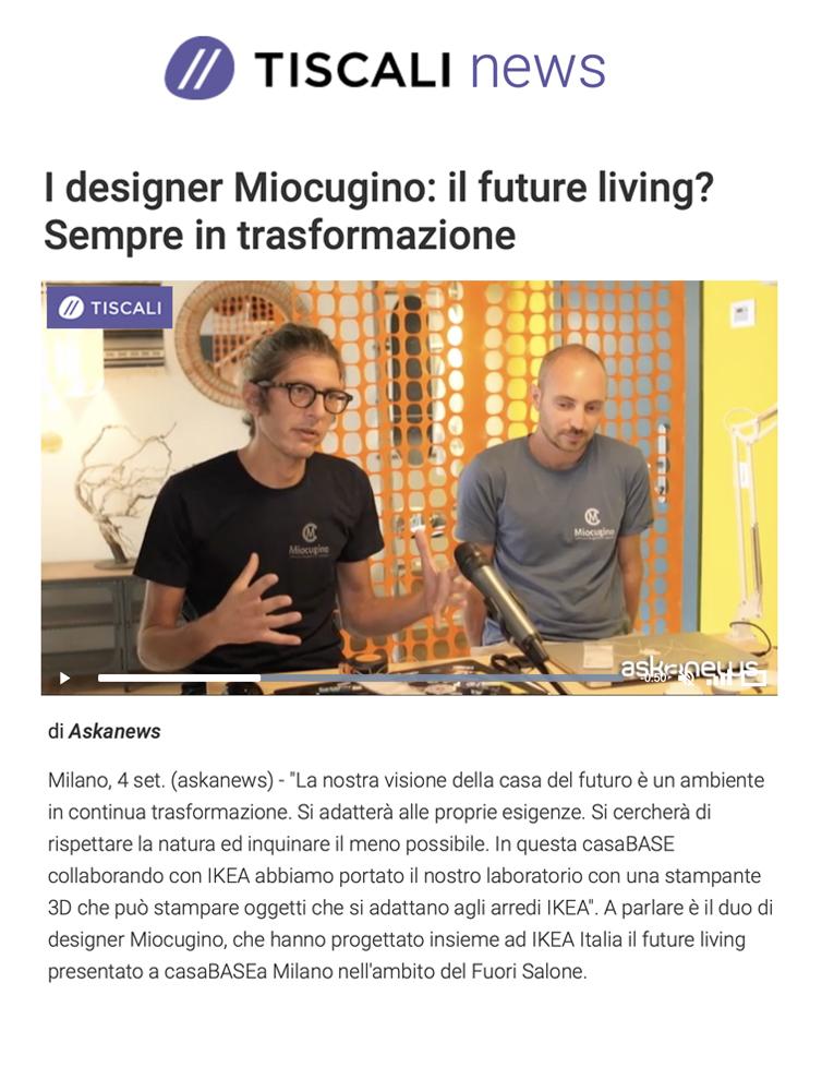 Miocugino IKEA Milano Design Week 2021 Press Tiscali